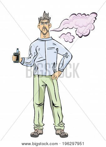 Young Men with beard vaping. Cloud of vapor. Vector illustration, isolated on white background.