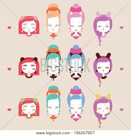 Cute girls with cat heads character collection. Vector illustration eps 10