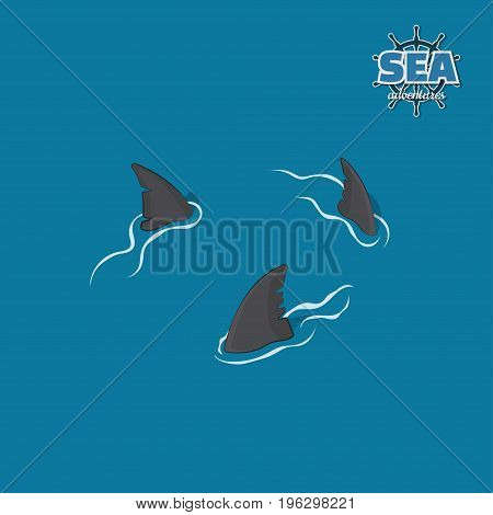 Shark fins on a blue background. Danger fish in isometric style. 3d illustration. Pirate game. Vector illustration