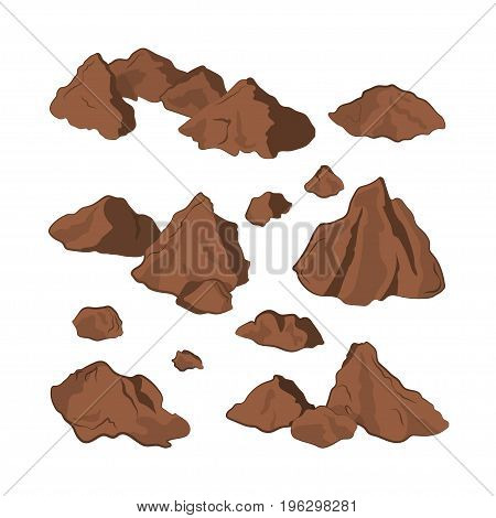 Brown stones on a white background. Isolated rock in cartoon style. Set of mineral formation. Vector illustration