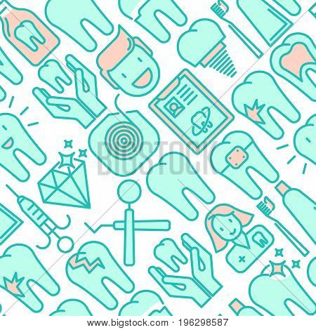 Dental clinic seamless pattern with thin line icons related to teeth treatment, dental equipment, oral hygiene. Vector illustration for web page, banner, print media.
