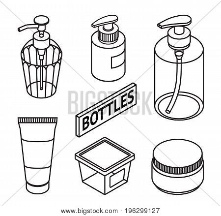 Set of Line style cosmetics for skin care. Icons of cosmetic bottles and package. Bottles for shampoo, creams, tonic, mask, soap, gel. Vector illustration.