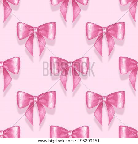 Seamless pattern with watercolor pink bow