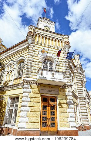 Municipality hall mayor building, city council, Chisinau, Moldova, sunny day blue sky, stefan cel mare main street, old musical clock, watchtower townhouse