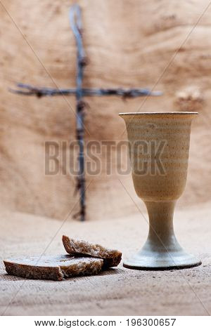 Chalice Of Wine With Bread On The Burlap