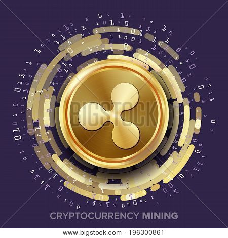 Mining Ripple Cryptocurrency Vector. Golden Coin, Digital Stream. Futuristic Money. Fintech Blockchain. Processing Binary Data Arrays Operation. Cryptography