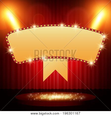 Retro Banner On Stage With Spotlight Effect Background