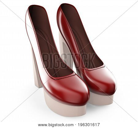 A pair of red color women's high-heel shoes 3d illustration