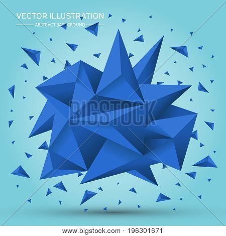Volume Geometric Shape. Abstract Polygonal Geometric Shape. 3D Blue Crystals. Low Polygons Object. L