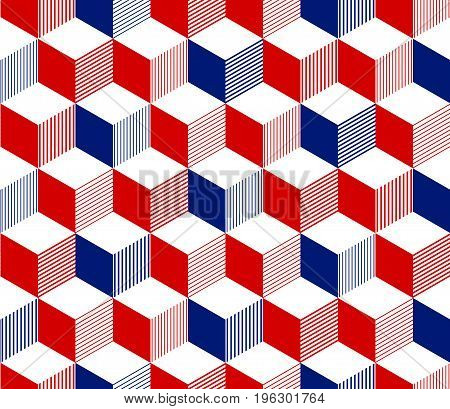 Abstract 3d striped cubes geometric seamless pattern in red blue and white, vector background