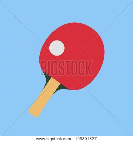Table tennis racket with ball. Ping pong racket in flat style. Vector stock.
