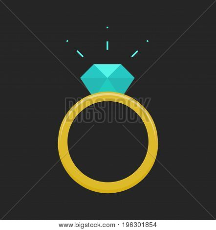 Diamond Ring icon. Rich jewelery concept. Vector stock.