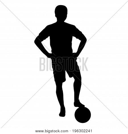 Footballer silhouette. Black football player outline with a ball, isolated on white background. Vector illustration