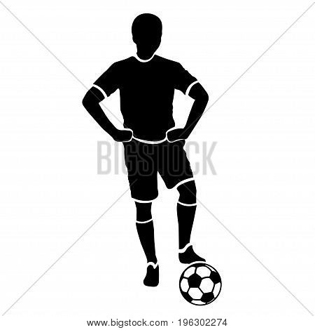 Footballer silhouette. Black football player outline with a ball, isolated on white background