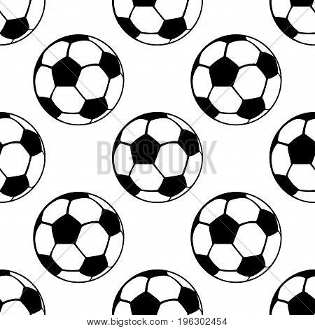 Football balls seamless pattern, vector sport background. Black and white