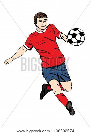 Footballer with a ball, vector hand drawing. Football player in a red blue uniform runs and scores a goal. Isolated on white background. Vector illustration