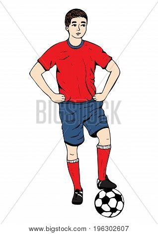Footballer, vector hand drawing. Football player in a red blue uniform with a ball. Isolated on white background. Vector
