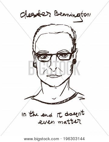 A portrait of a Bennington Chester. Frontmen Linkin Park. Hand Drawn illustration. Sketch.