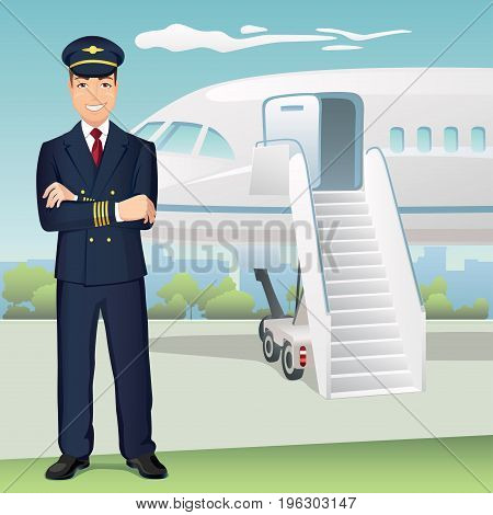 Pilot of Commercial Airlines with the background of airplane / Vector illustration of affable airplane pilot