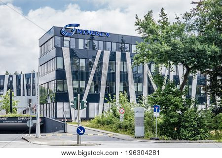 Hamburg , Germany - July 15, 2017: The Nordex headquarter is located in the city of Hamburg and is offering powerful wind turbines for nearly all geographical regions across the globe