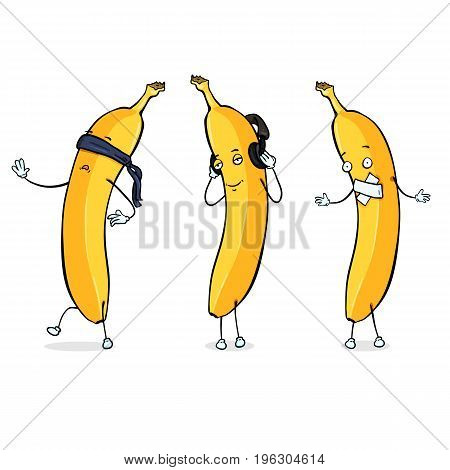 Vector Banana Character - Blind, Deaf and Mute on White Background