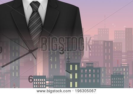 Business Challenge and Time Management Concept : Business suit and wall time with skyline background.