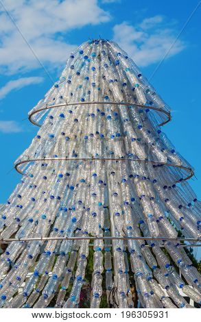 Artificial tree out of empty plastic bottles