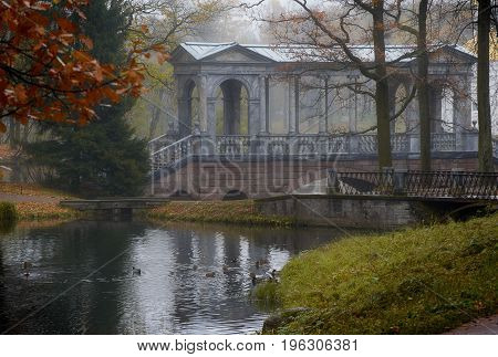 Autumn lanscape with Marble bridge in Tsarskoe Selo
