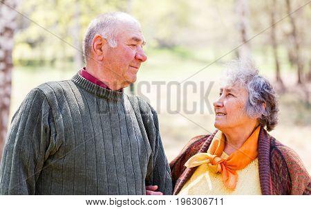 Portrait photo of a lovely happy elderly couple
