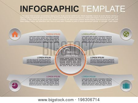 Modern Colorful Infographics Options Template Vector With Wings. Can Be Used For Web Design, Brochur