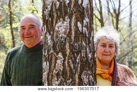 Photo of beautiful happy elderly couple in the nature