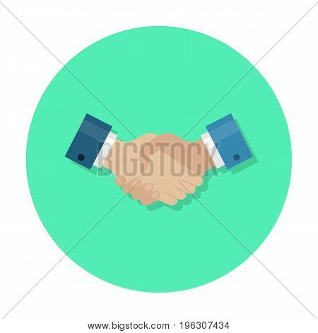 Handshake flat icon. Strong businessmen handshake, partnership icon, social or business setting. Vector flat style cartoon illustration in rounded shape. Business success concept