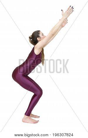 Woman practicing yoga Ardha Padmasana pose isolated on white