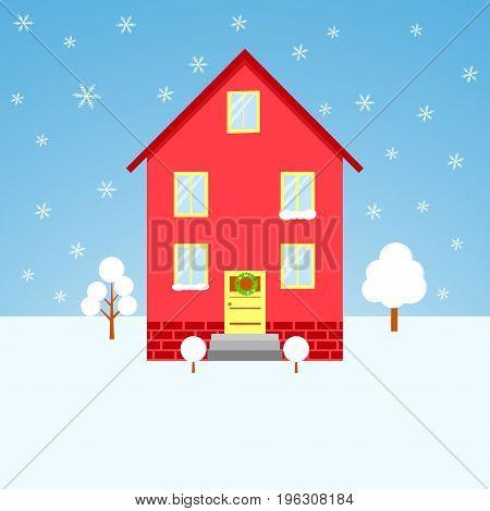 house winter postcard vector facade, cold, village, banner, background, cottage
