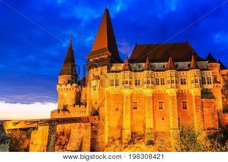 Hunedoara Romania.Hunyad Castle / Corvin's Castle in Hunedoara Romania.