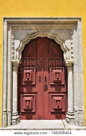 Wooden Door In Sintra, Portugal