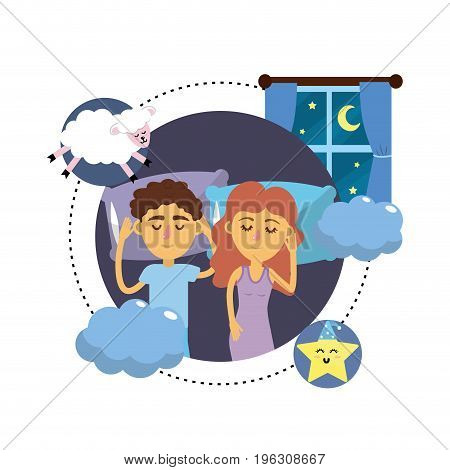 couple sleeping together with good dreams vector illustration