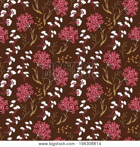 Cute Floral pattern in the small flower. Motifs scattered random. Ditsy print. Seamless vector texture. Printing with small colorful flowers. Pink white beige plants on brown background.