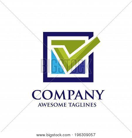check box logo concept, square box with check mark logo concept