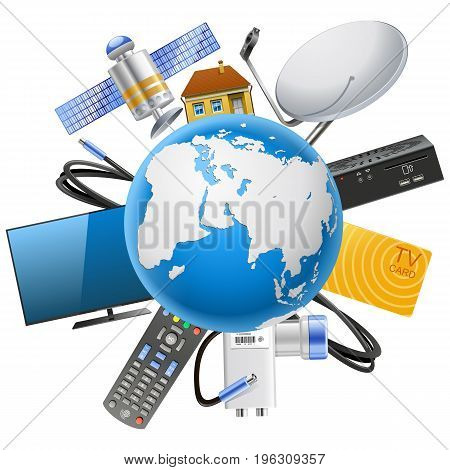 Vector Planet with Satellite Equipment isolated on white background