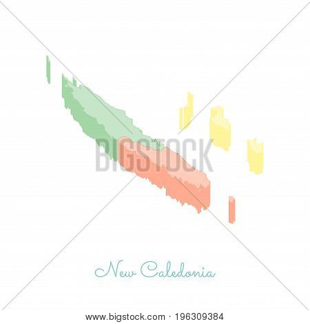 New Caledonia Region Map: Colorful Isometric Top View. Detailed Map Of New Caledonia Regions. Vector