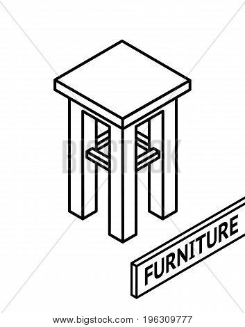 Isometric outline furniture. 3D line drawn isometric stool. white background. Vector illustration.