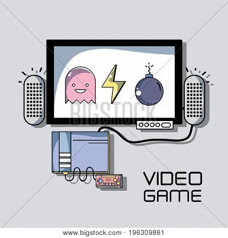 videogame simulator connected in television to play game vector illustration