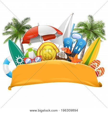 Vector Beach Yellow Banner isolated on white background