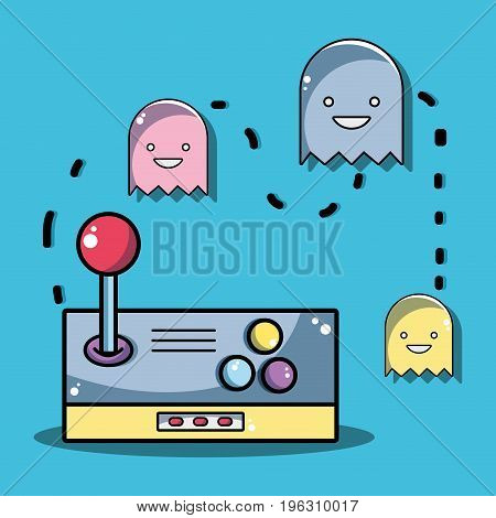 videogame console with character games design vector illustration