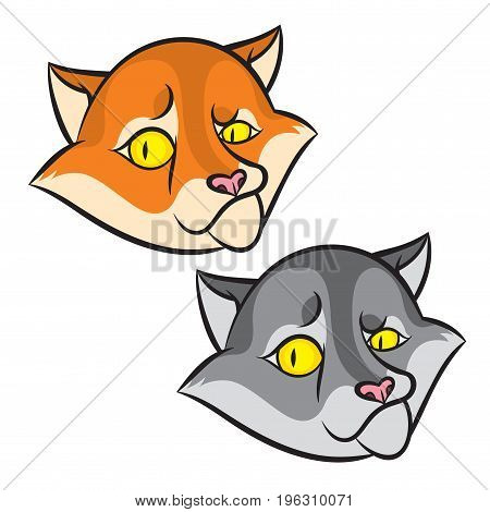 Head of cartoon smiling cat - vector graphics illustration