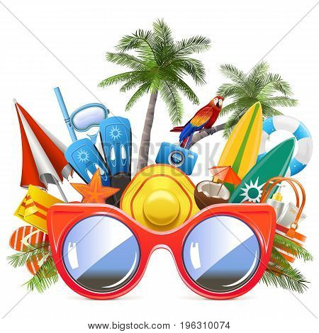 Vector Beach Concept with Red Glasses isolated on white background