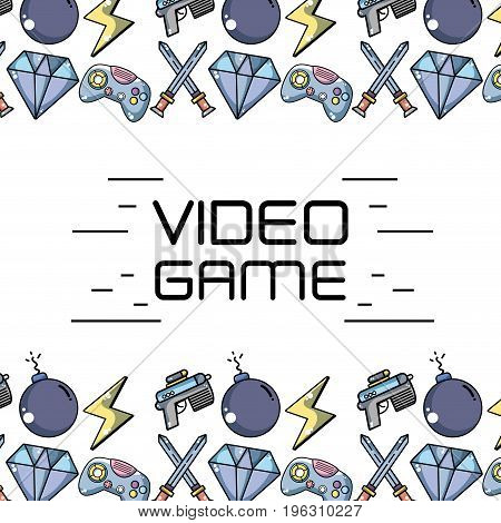 videogame technology elements to game background vector illustration