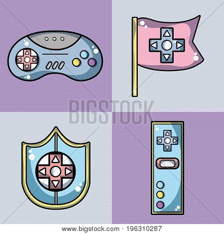 set videogame technology activity to recreation vector illustration