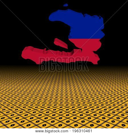Haiti map flag with hurricane warning sign foreground 3d illustration